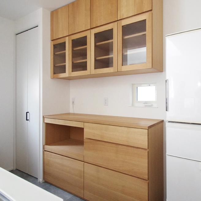 オーク無垢材のキッチンボード
