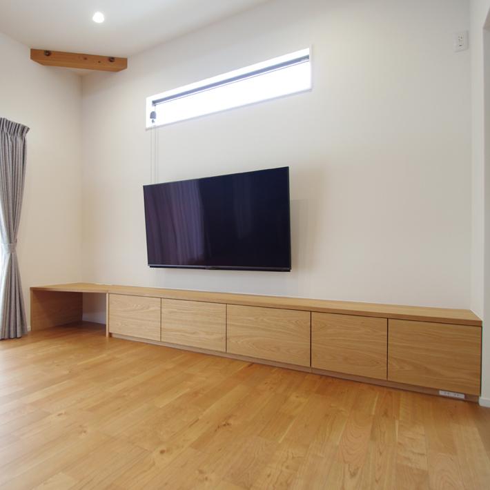 幅3500mmオーク材のテレビボード