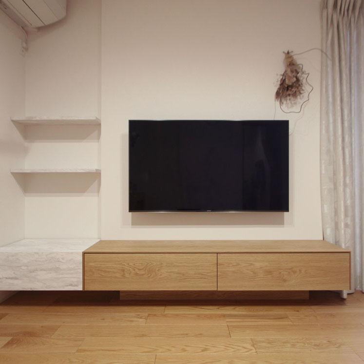 プリンター収納付きテレビボード